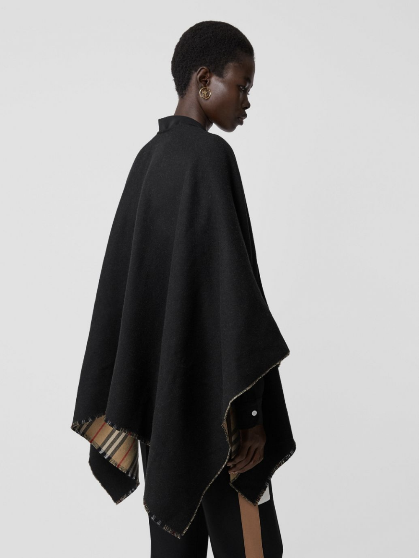 Icon Stripe Detail Wool Cape In Black Women Burberry United States In 2021 Wool Cape Cape Black Women