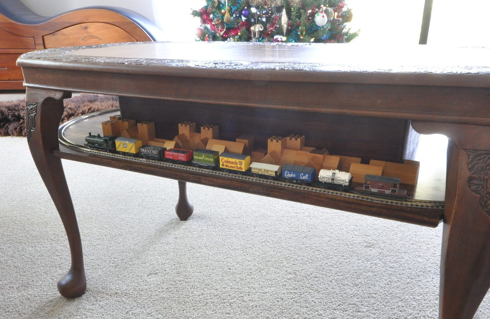 """antique"""" n-scale coffee table train layout another possibility is"""
