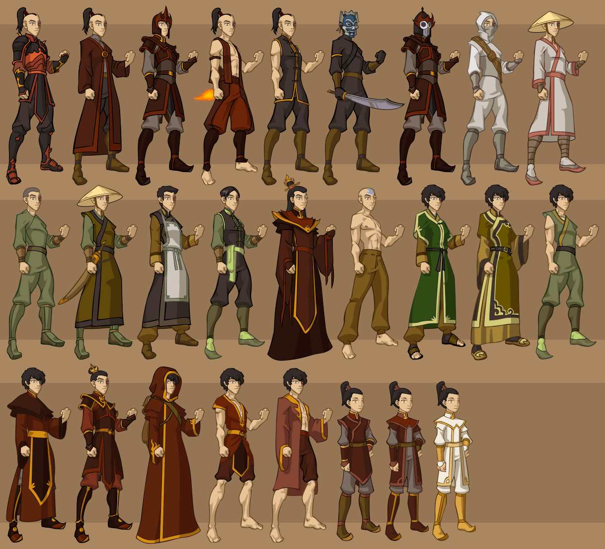 The Last Airbender All Avatars: Fan Art Of Zuko's Wardrobe For Fans Of Avatar: The Last