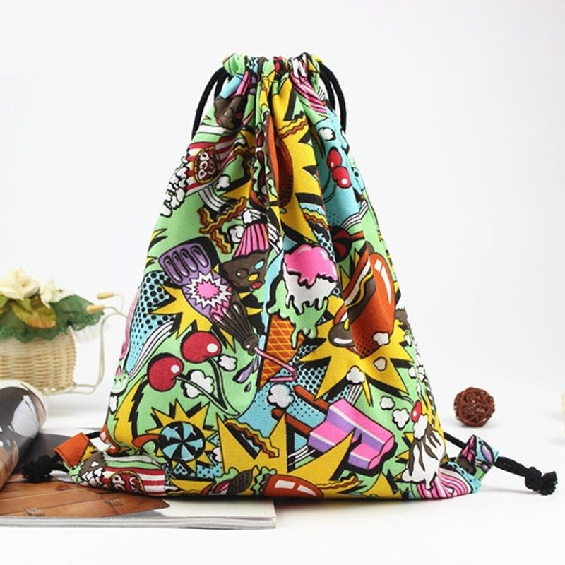 Canvas Drawstring Bag New Swimming And Sports Bags New Book School Backpack Travel Beach Bucket Bag