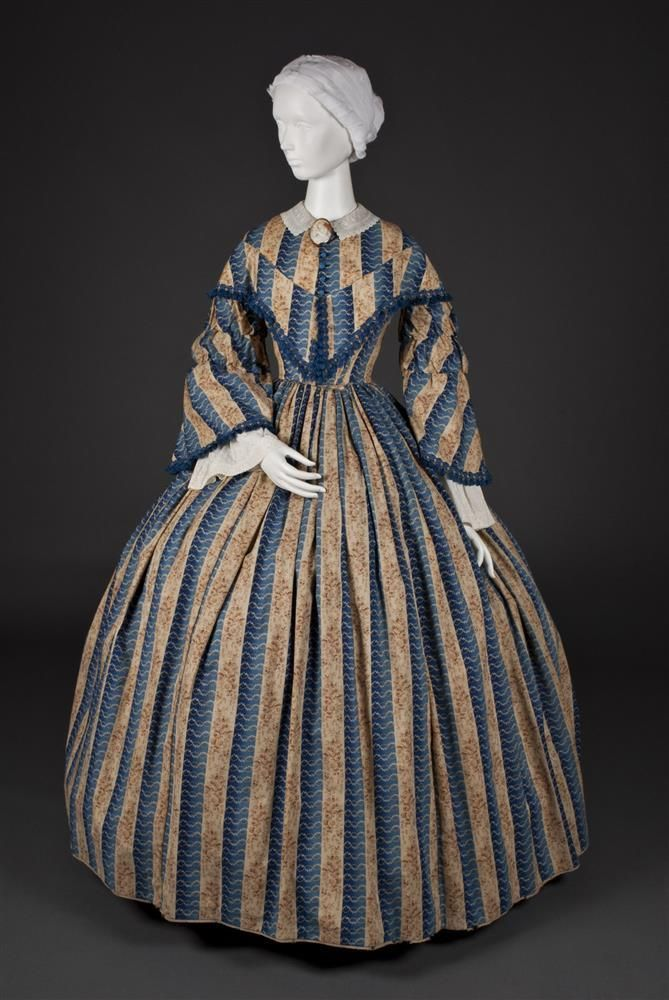 1850s American designed cotton and cambric Woman's Dress.