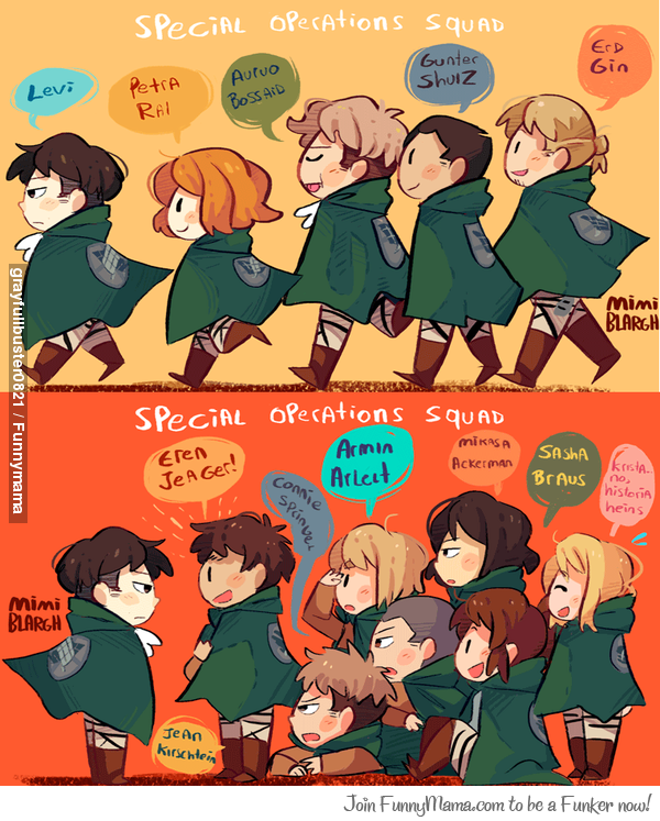 Levi Squad Then And Now With Images Attack On Titan Funny Attack On Titan Art Attack On Titan Levi