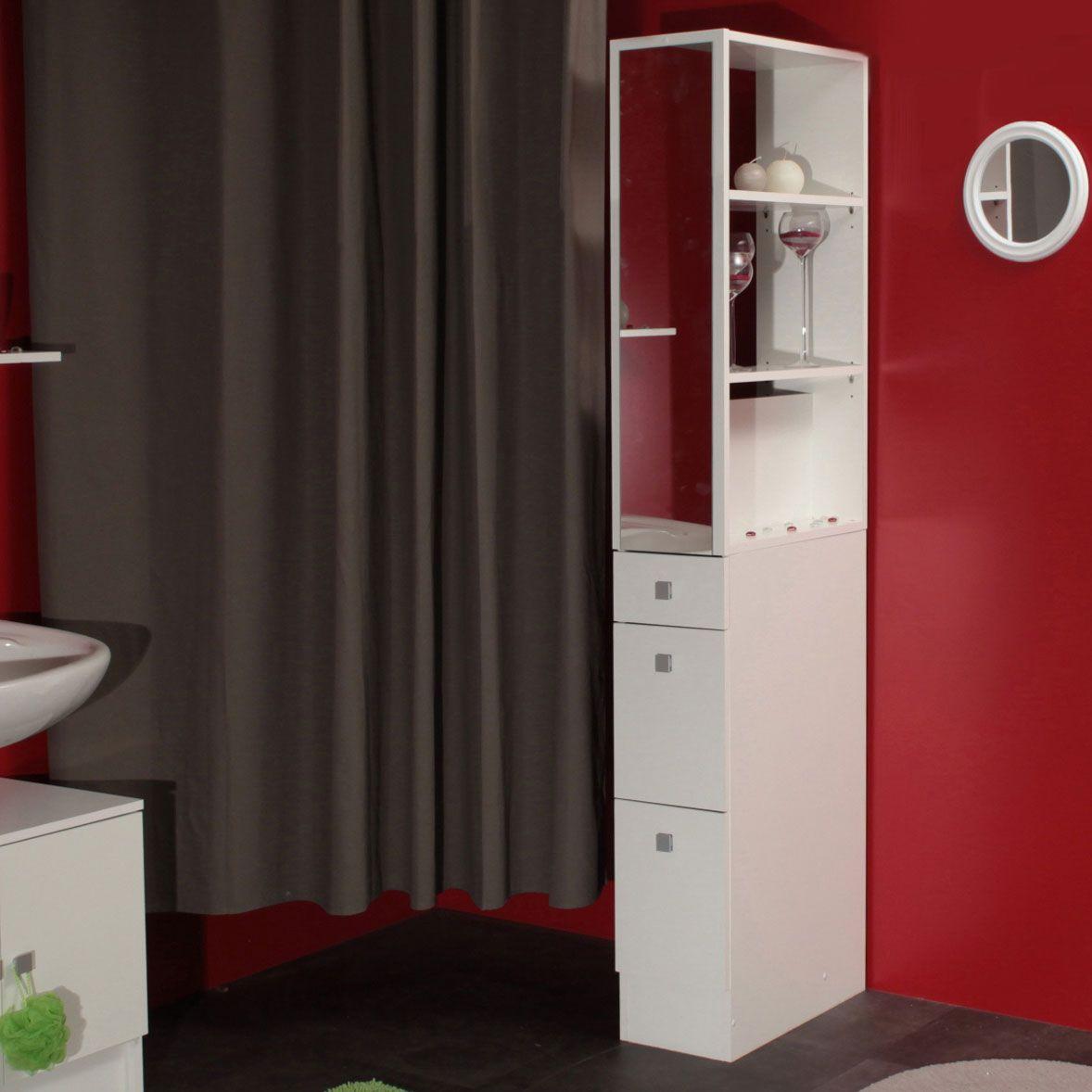 colonne salle de bain 3 tiroirs 1 miroir l245xp54xh18150cm banio - Idee De Separation Salle De Bain