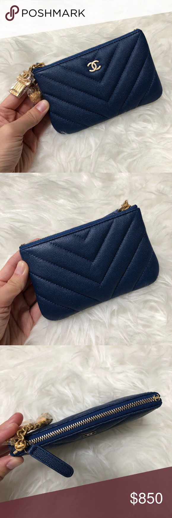 d1c840e99b96 CHANEL NAVY CAVIAR MINI O CASE POUCH WALLET Brand new! From next Cruise  2018 collection. Caviar navy leather with gold hardware. Super cute charms!