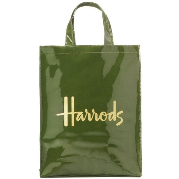 Harrods Medium Logo Shopper Bag (115 RON) ❤ liked on Polyvore featuring bags,  handbags, tote bags, green purse, green tote, logo tote, patent leather  purse ... 8dc71710f1