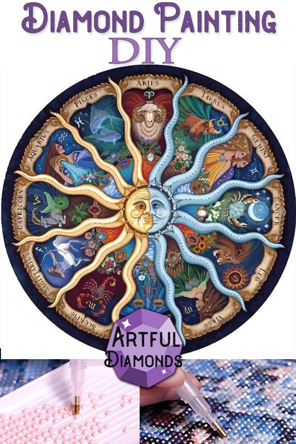 Astrological Zodiac Signs Sun Moon Diamond Painting Kit In