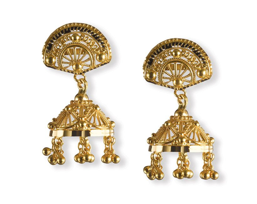 These little jhumkas by Tanishq are cute and yet intricate in ...