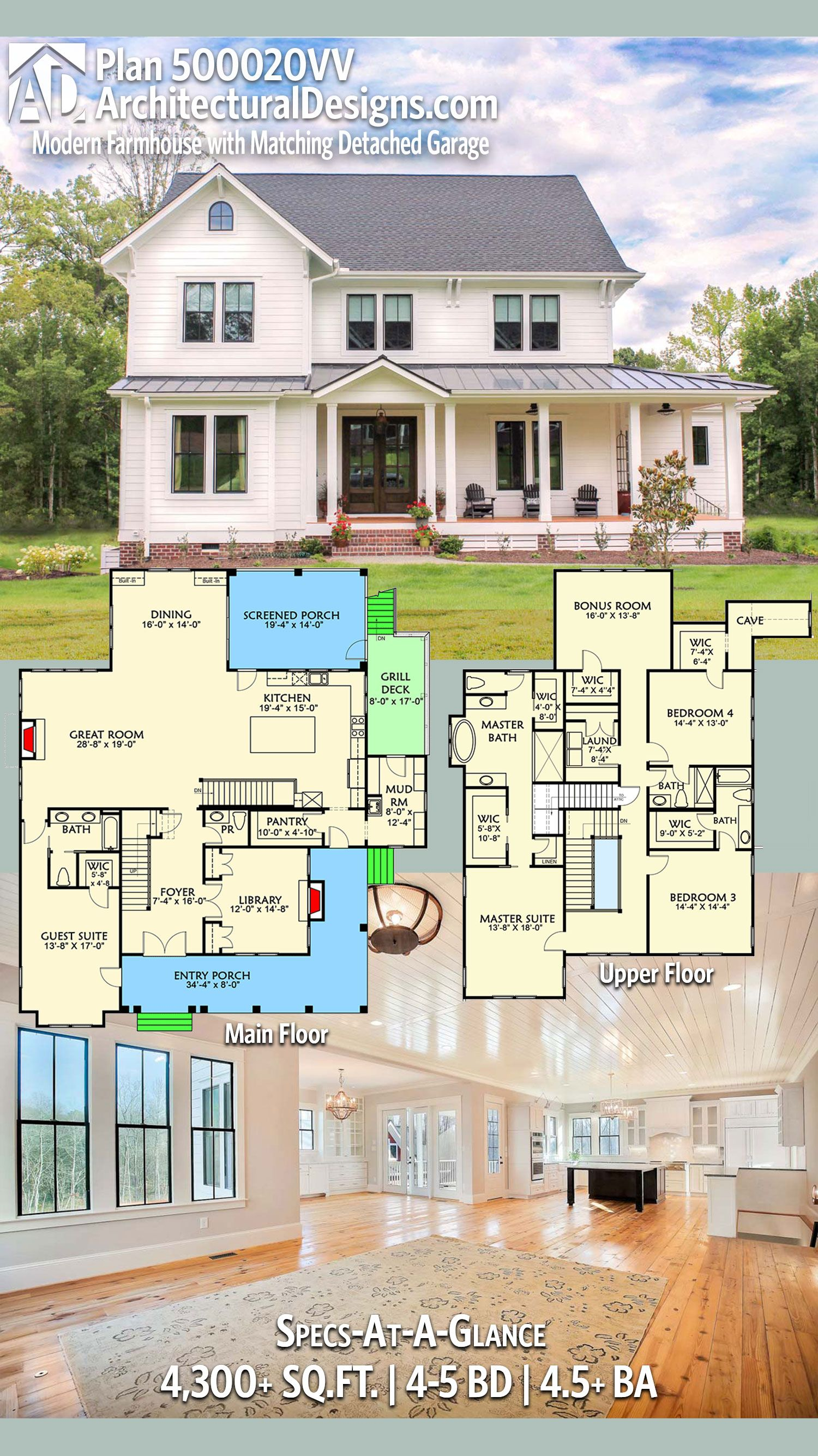 Plan 500020vv Modern Farmhouse Plan With Matching Detached Garage Modern Farmhouse Plans Farmhouse Layout Farmhouse Plans