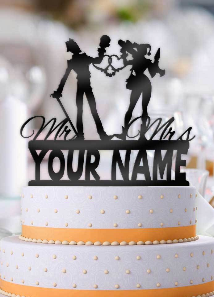 Personalized Joker And Harley Love Cuffs With Name Wedding Cake