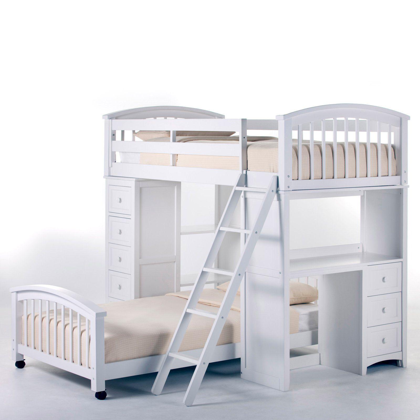 NE Kids Schoolhouse Student Loft Bed White White loft