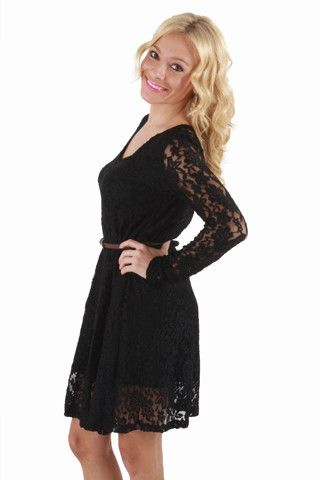 Go ahead and put your chips on the table, because the Lace Your Bets Black Dress is a sure thing! Sheer black lace at cute long sleeves continues to a large open back cutout that really pumps up the sex appeal. A scoop neck leads to a flowy skirt cinched in by a thin brown belt that will have you feeling like one lucky lady!