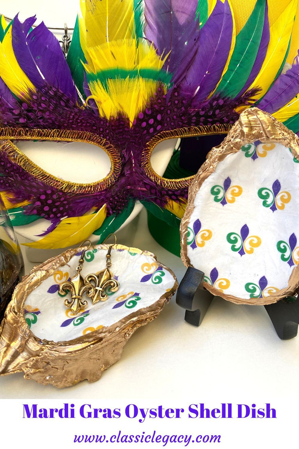 Mardi Gras oyster shell ornaments with charms