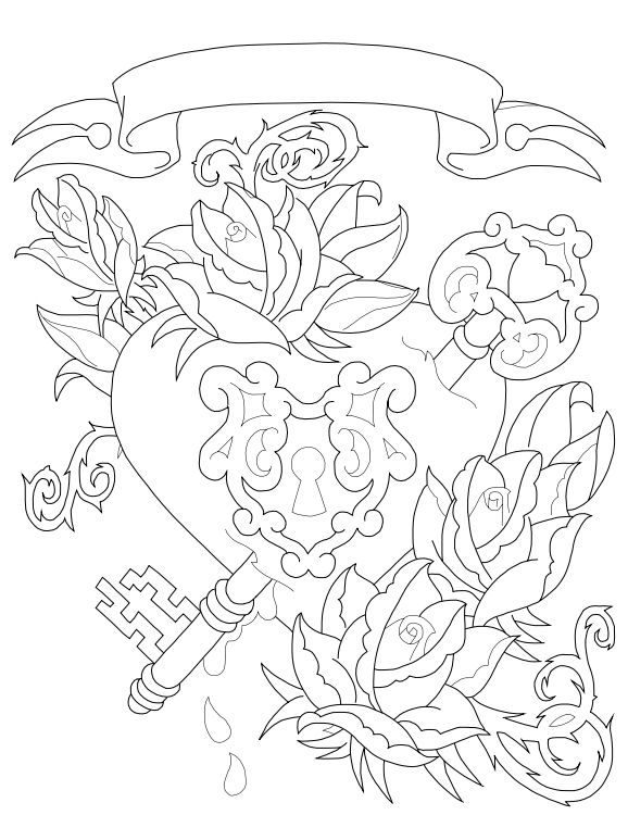 Key to my heart Lineart by Xavren @ deviantART Keys And Locks - fresh coloring pages roses and hearts