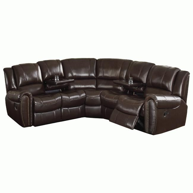 Groovy Camden Dark Brown Italian Leather Reclining Sectional Sofa Pabps2019 Chair Design Images Pabps2019Com