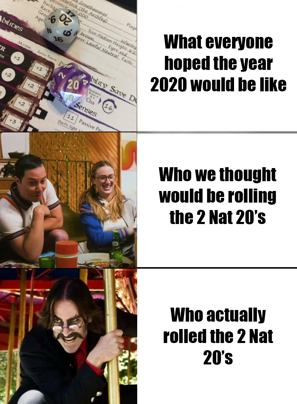 Almost 5 Months Into 2020 And I Think We Can All Agree Dnd Rpg Tabletop Geek Miniatures Dungeo Dnd Funny Dungeons And Dragons Memes Dragon Memes