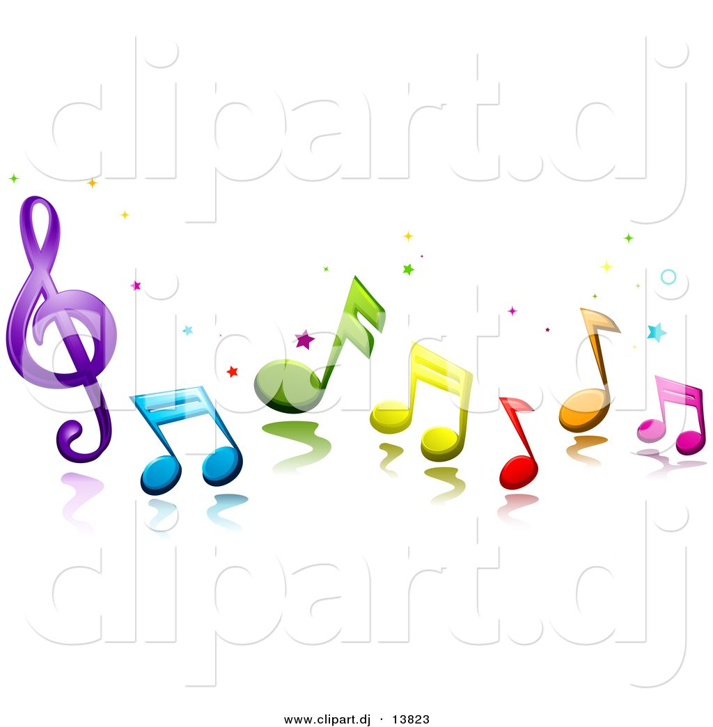 Vector Clipart Of 3d Colorful Music Notes And Stars Musiknoten