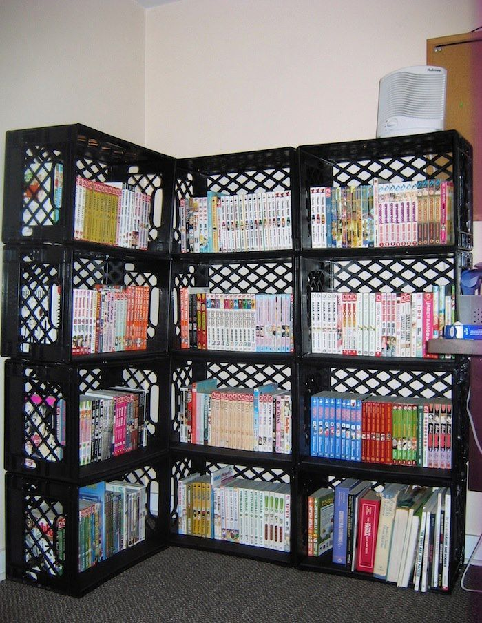 how to decorate with plastic crates found on recycledawblog rh pinterest com  plastic milk crate shelves