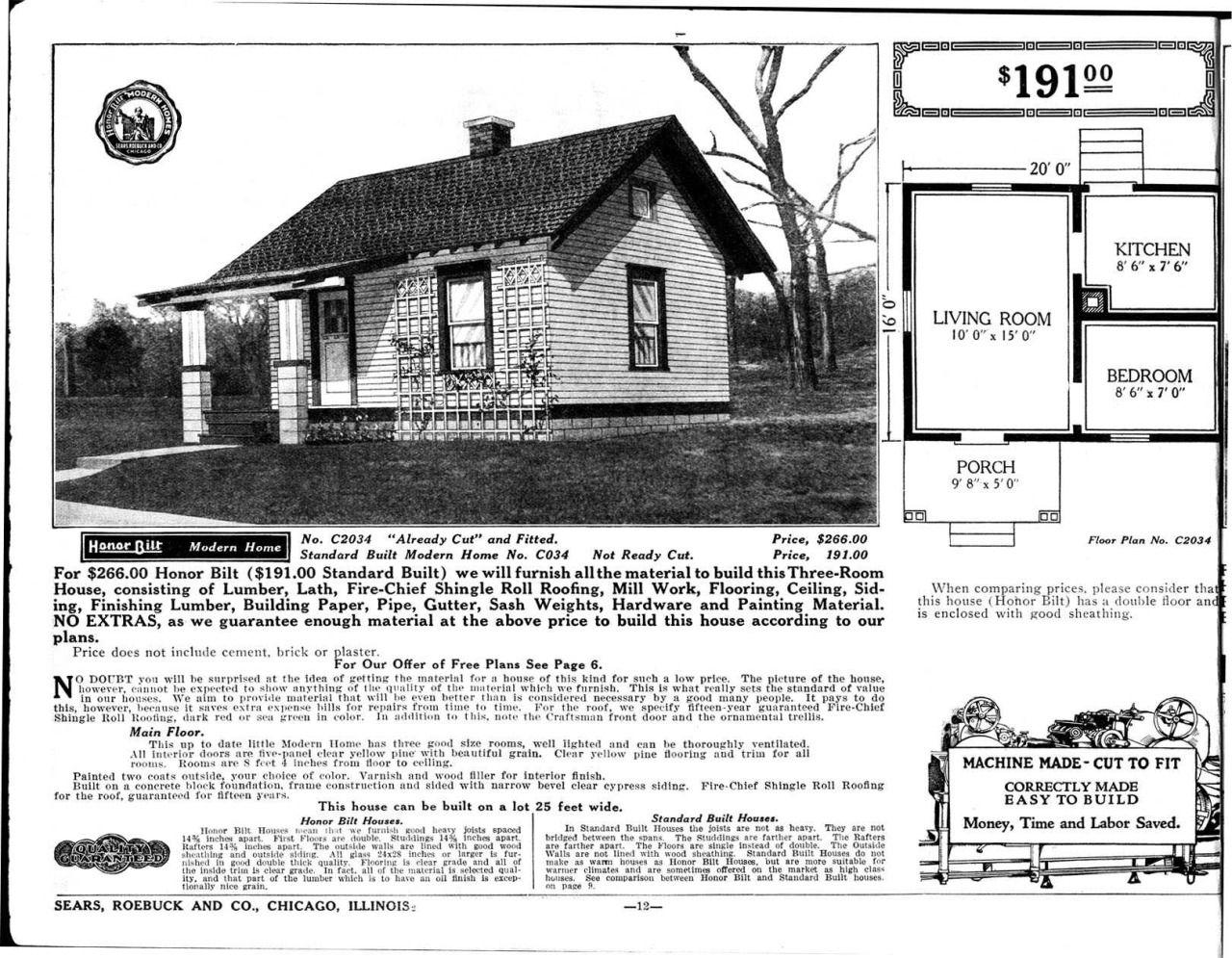 Sears Homes 1915-1920 - 320 sf - The Natoma (Model No ...
