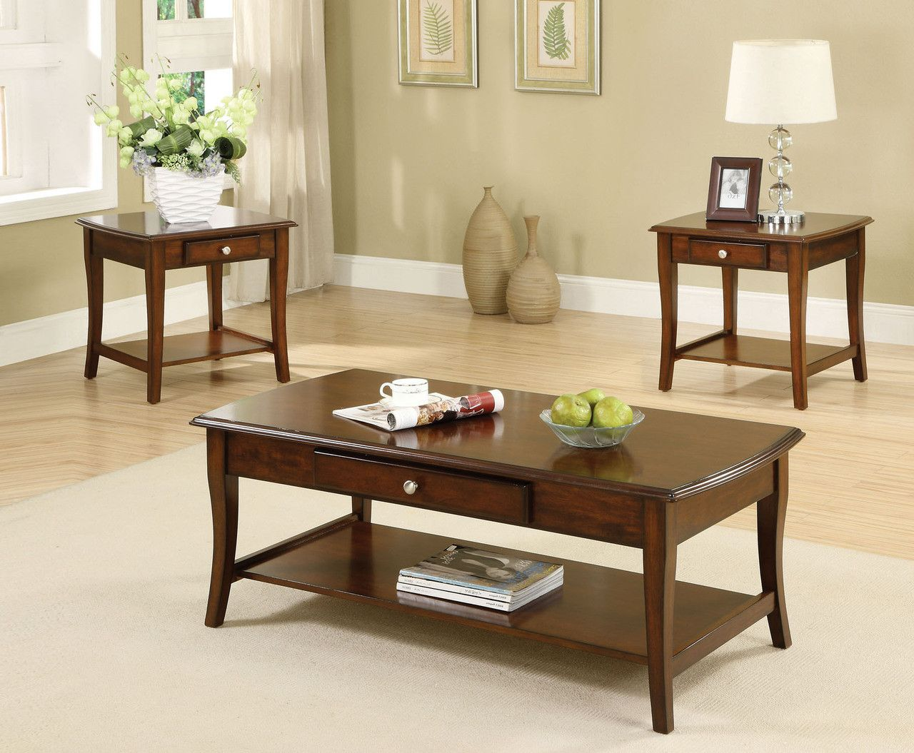 lincoln park 3 pc coffee & end tables set cm4702-3pk | best coffee