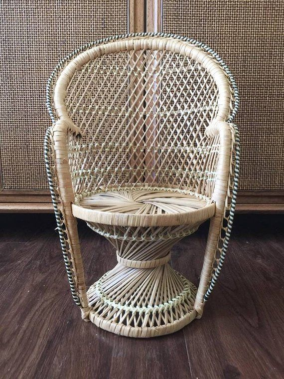 vintage peacock chair high seat chairs for elderly small mini wicker decor plant holder