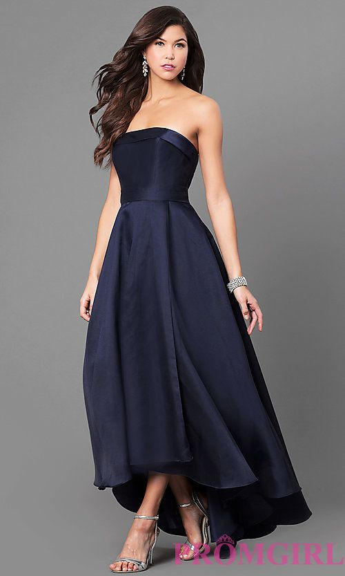 Strapless High Low Satin Prom Dress | Prom Gowns | Pinterest | High ...