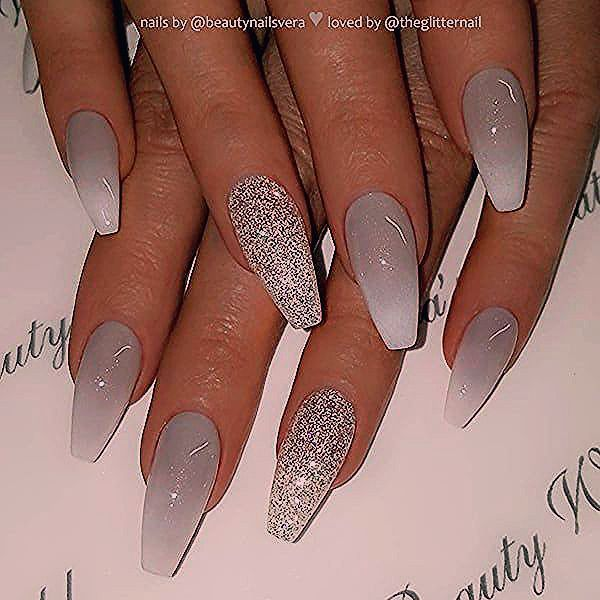 Photo of ✨ Grey to White Ombre and Glitter on Coffin Nails 👌 • 💅 Nail Artist @b… –  #artist #coffin …