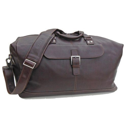 BOCONI Mens Tyler Tumbled Cargo Duffle in Coffee leather w khaki ** Click image for more details.