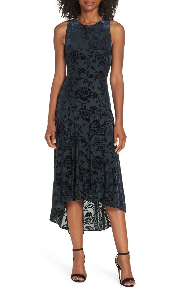 af21a456f38 Free shipping and returns on Vince Camuto Burnout Velvet High Low Dress at  Nordstrom.