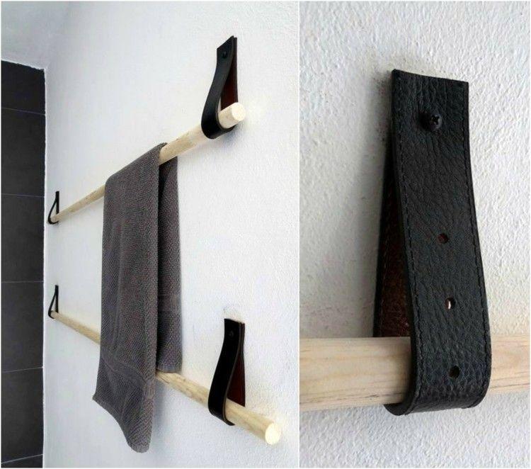 Stangen mit Lederriemen an der Wand als Bad Handtuchhalter | Bad ...