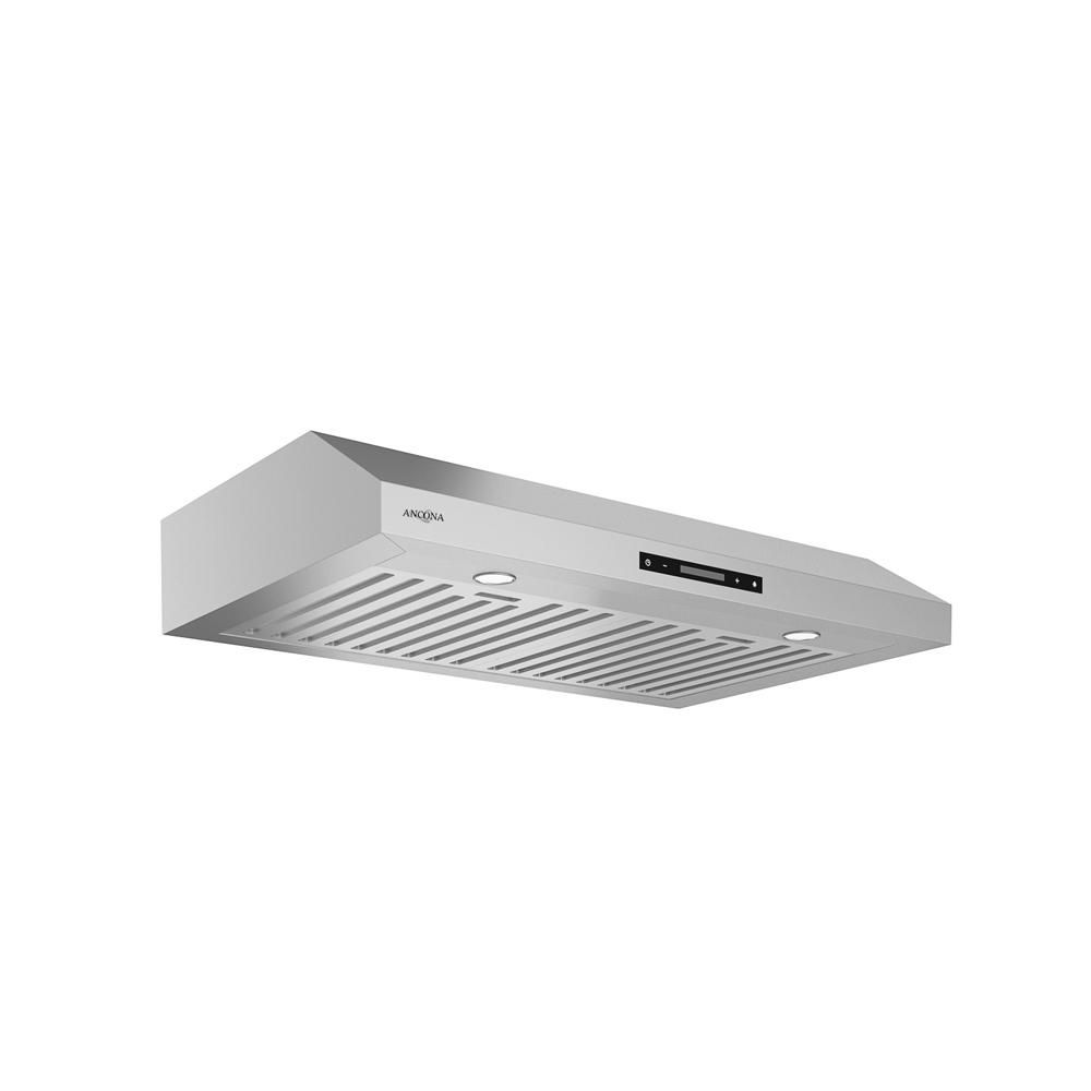 Ancona Slim Elite 30 In Under Cabinet Range Hood With Led In Stainless Steel An 1246 The Home Depot Range Hood Under Cabinet Range Hoods Ancona