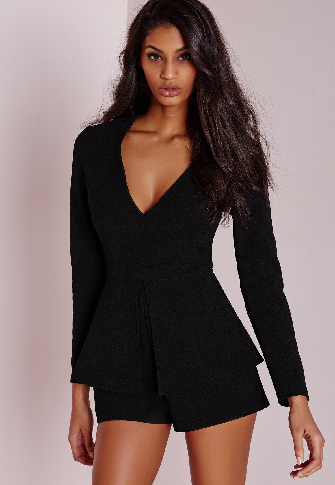 26173a1106 Missguided - Plunge Peplum Playsuit Black