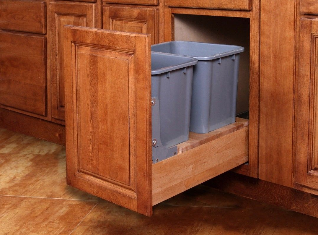 Double Pullout Waste Basket for a 18  Wide Base Cabinet & Double Pullout Waste Basket for a 18