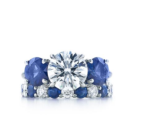 Tiffany Co Three Stone With Sapphire Side Stones Three Stone Engagement Rings Sapphire Wedding Set Sapphire Side Stones