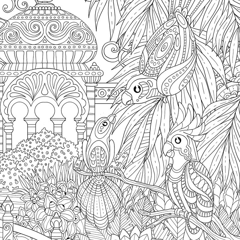 Jardin Celeste An Hardcover Set Of Two Colorig Poster Cm Each That Can Be Juxtaposed On Both Sides To Form A Wider Continuous Exotic Landscape