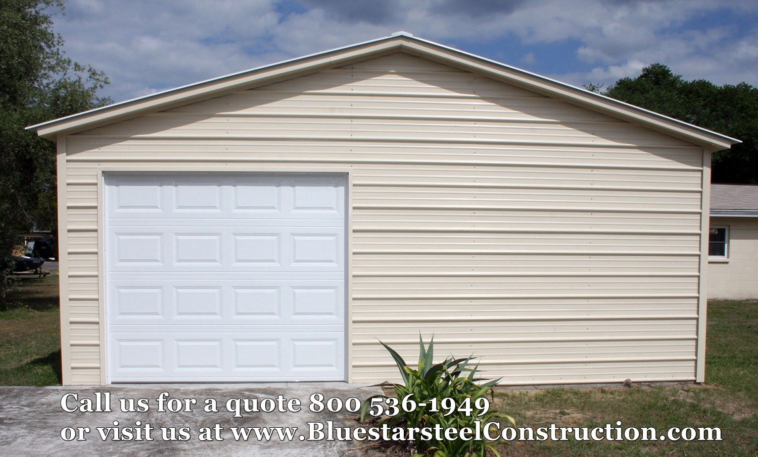 metal building - single garage - metal single garage door - low cost ...
