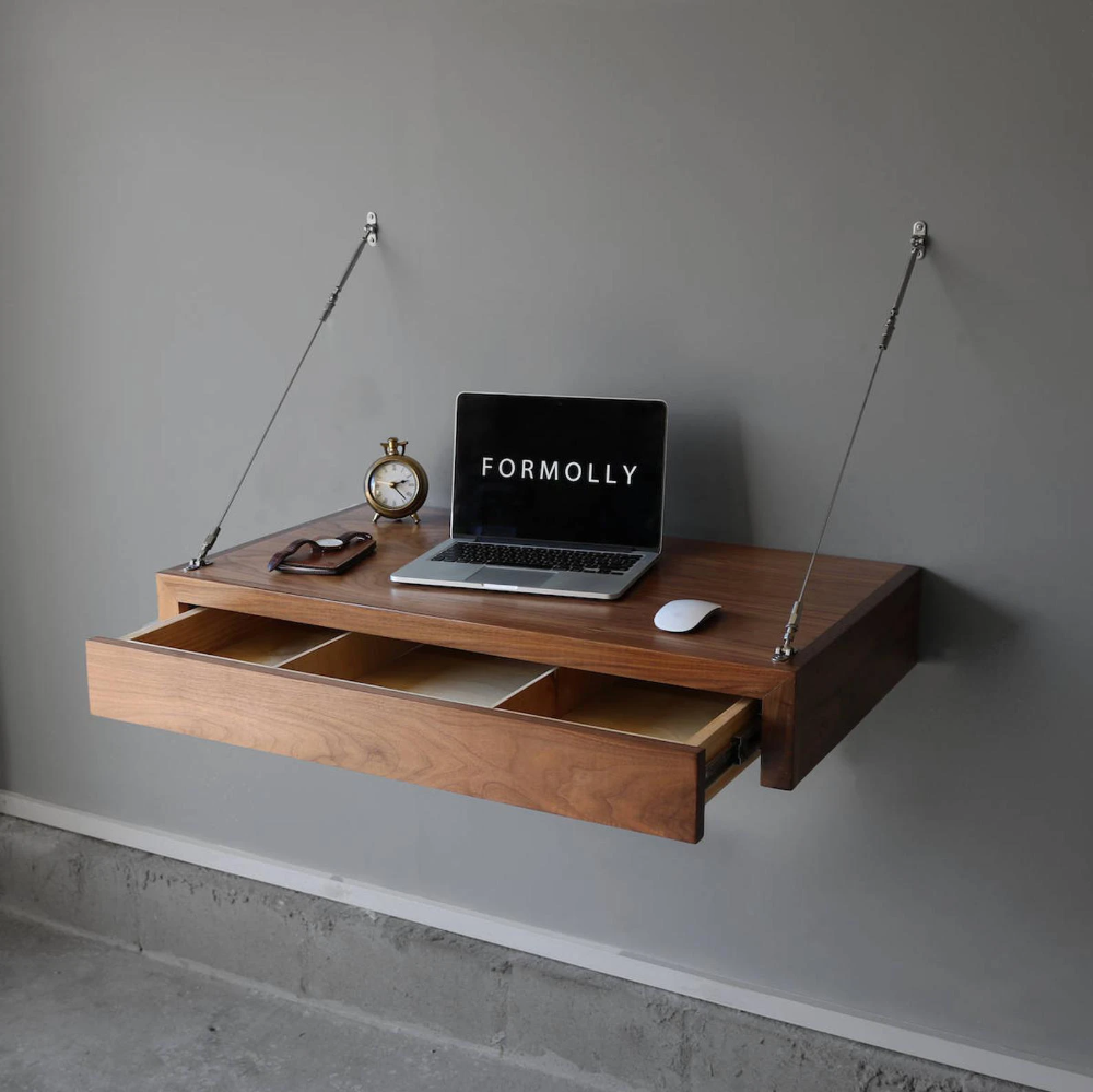 Floating Desk With Storage Drawer In 2020 Space Saving Desk Computer Desk Design Floating Desk
