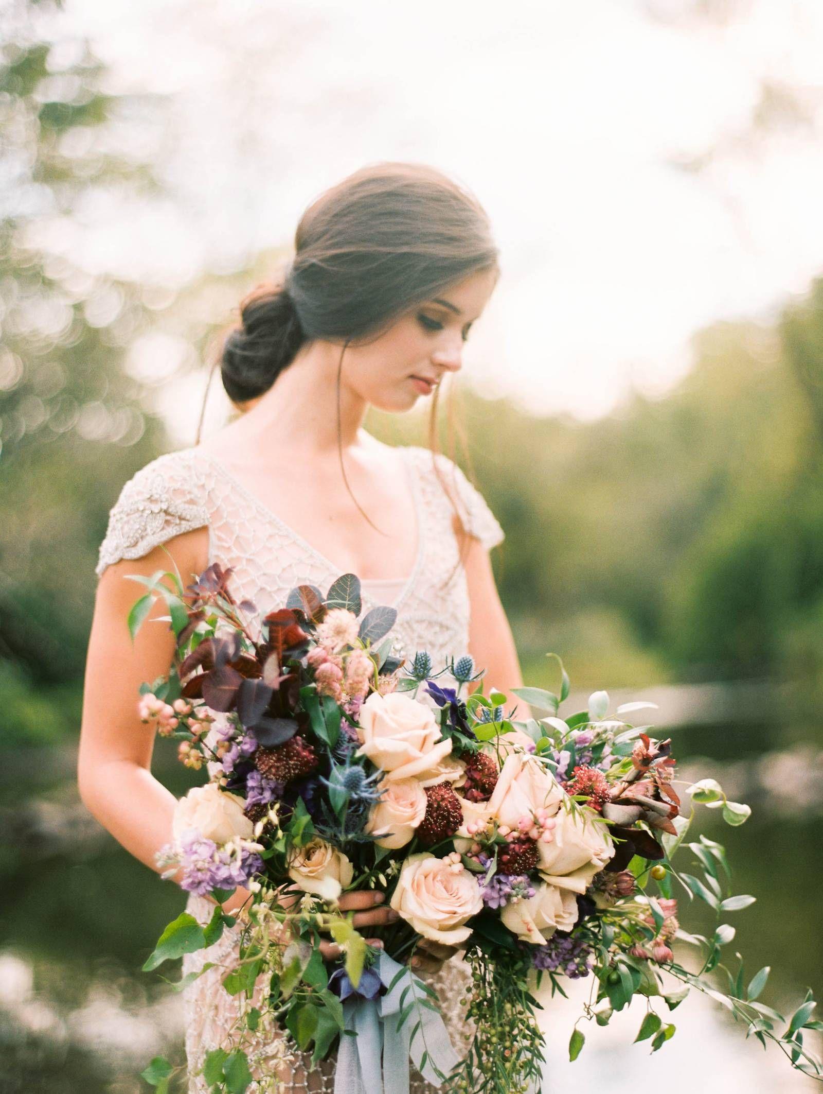 Romantic Creek Bridals With Plum Berry Florals Via Magnolia