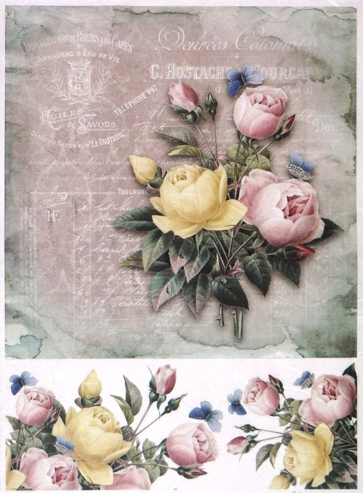 Rice paper for Decoupage Decopatch Scrapbook Craft Peony and laces