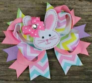 Bunny rabbit Easter purple polka dots glitter hair bow clip headband 3.5 inch outfit girls pretty cute