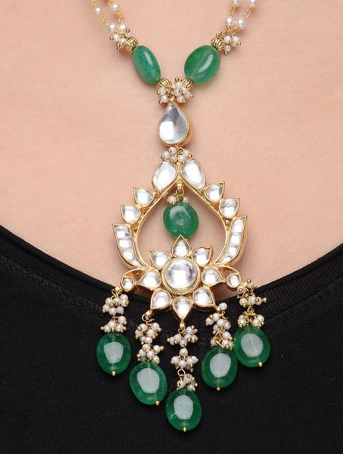 a938c15eb Buy Green Onyx Kundan-inspired Gold Tone Silver Necklace with Pearls Online  in 2018