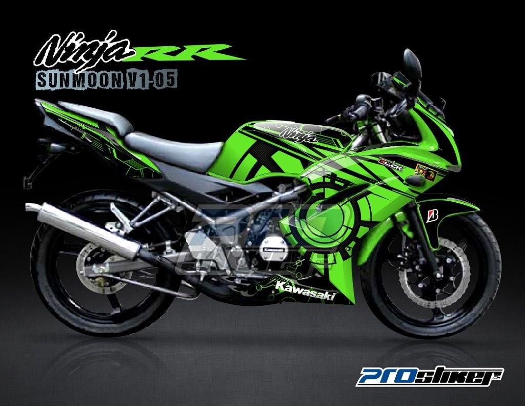 Car cutting sticker design - Striping Ninja 150 Rr New Hijau Motif Sunmoon V1 Hijau Rossi Replica Cutting Sticker Modifikasi