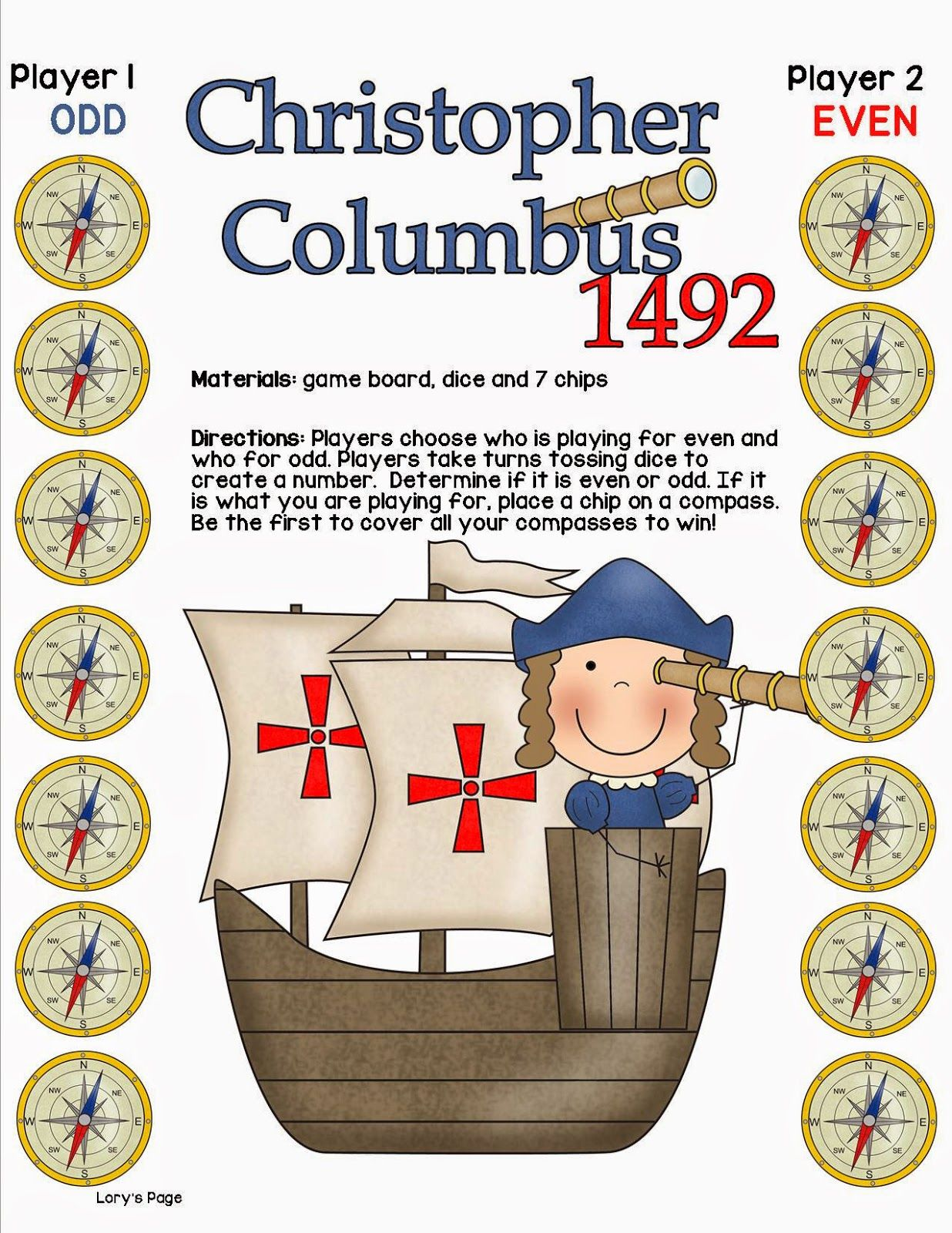 Lory S Page Columbus Day Fun Freebies Board Games Columbus Day Even And Odd
