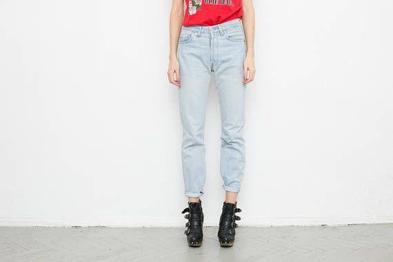 1155b153 LEVIS 501 blue womens jeans . Vintage light blue denim mom jeans with  button fly . Levi Strauss dad boyfriend jeans . Size W26 L30 . Tag: Levi  Strauss & Co.