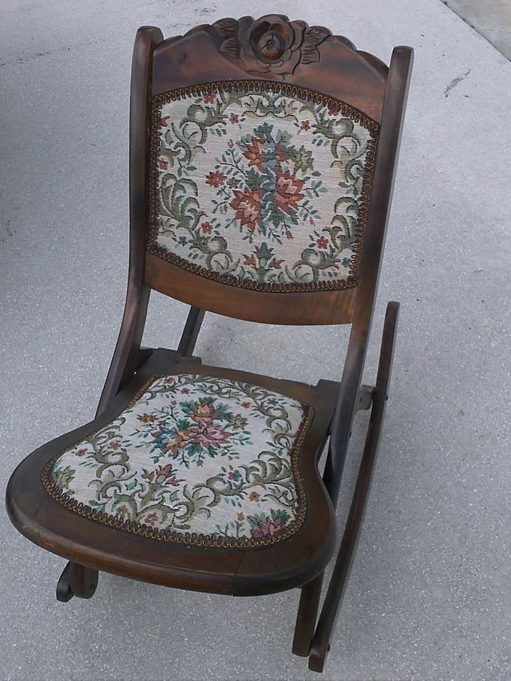 Antique Folding Nursing Rocking Chair Boho Funky Upholstery - da . - Antique Folding Nursing Rocking Chair Boho Funky Upholstery - Da