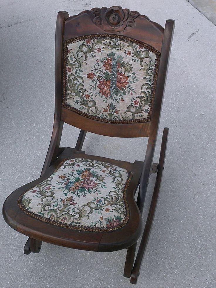Antique Folding Nursing Rocking Chair Boho Funky ...