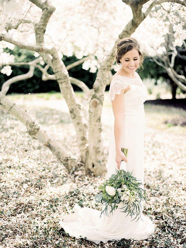 Lace Cap Sleeve Wedding Dress | Krista A. Jones Fine Art Photography | Artistic French Blue Wedding