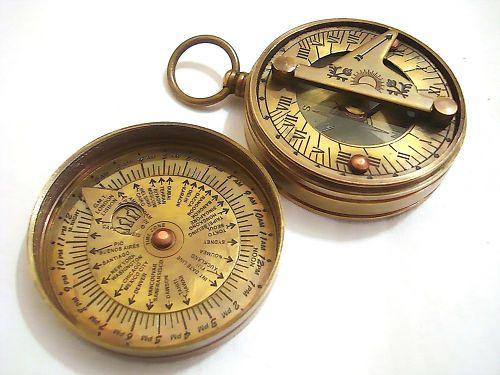 Brass Sundial Compass Pocket Sundial Compass Sundial Antiques Compass