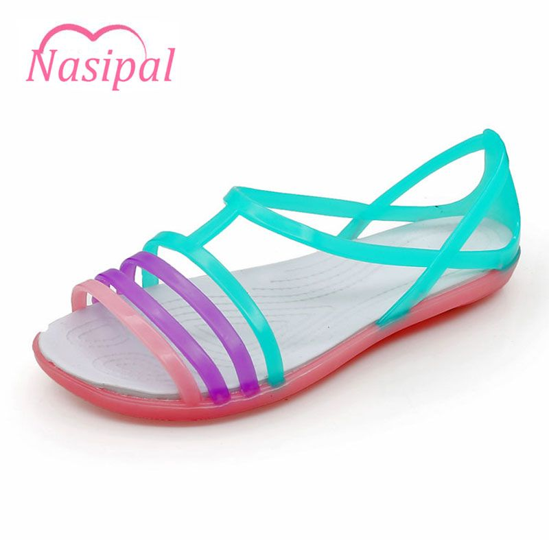48e766f615737d Nasipal Women Sandals 2017 Summer New EVA Candy Color Peep Toe Beach  Valentine Rainbow Croc Jelly Shoes Woman Wedges sandals