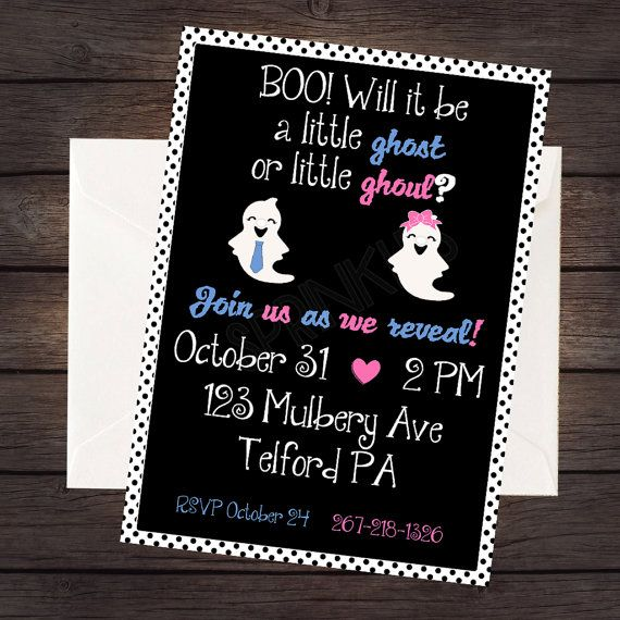 Halloween Gender Reveal Halloween Gender Reveal Invitation Little Ghost Or Little Ghoul Halloween Gender Reveal Gender Reveal Invitations Fall Gender Reveal