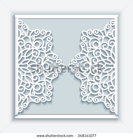 Elegant greeting card with lace decoration, lacy wedding - announcement template
